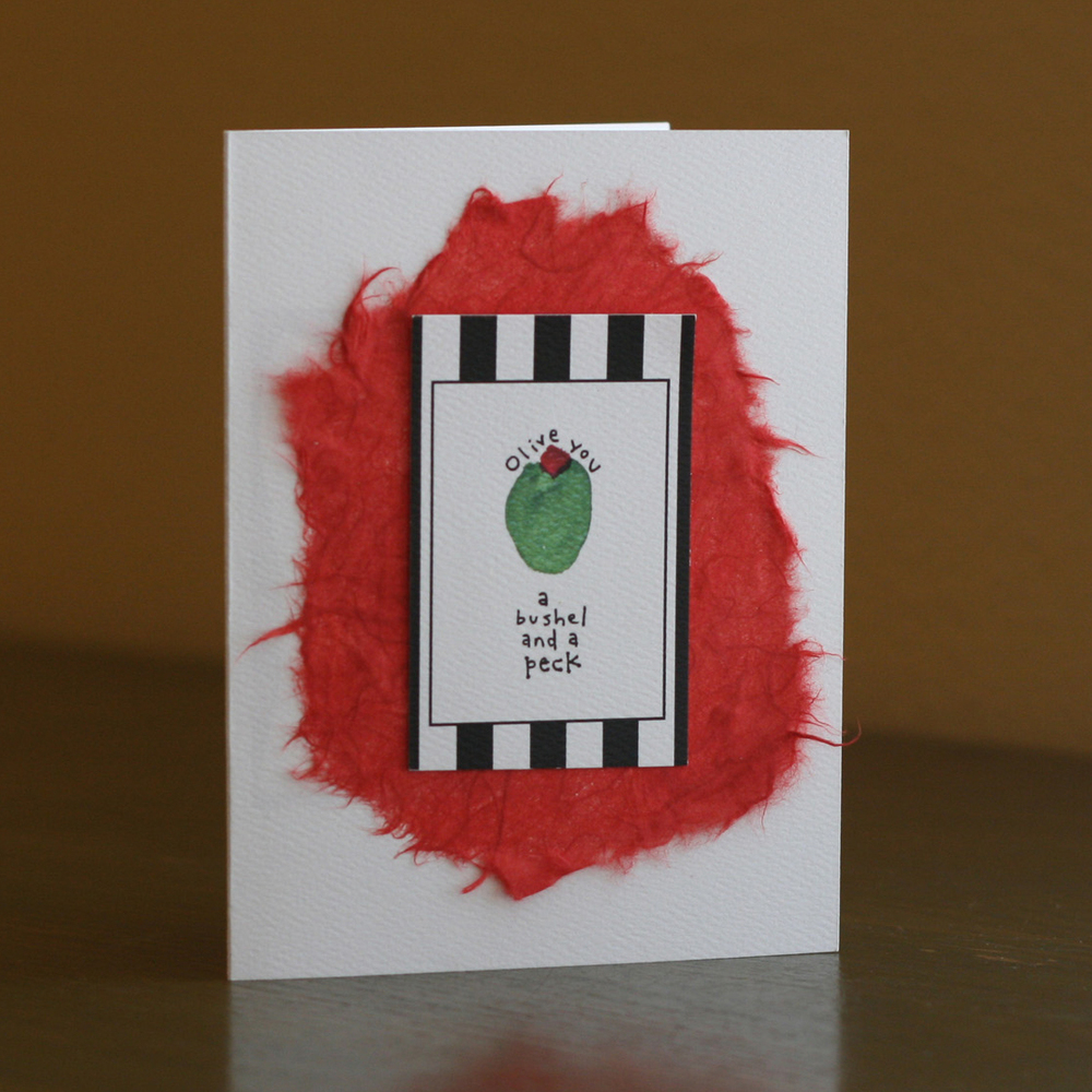 Olive you a bushel and a peck | Cutie and Noodle Card Company